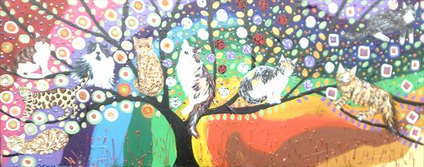 the Colourful Tree of Life with quirky Cats by Casimira Mostyn
