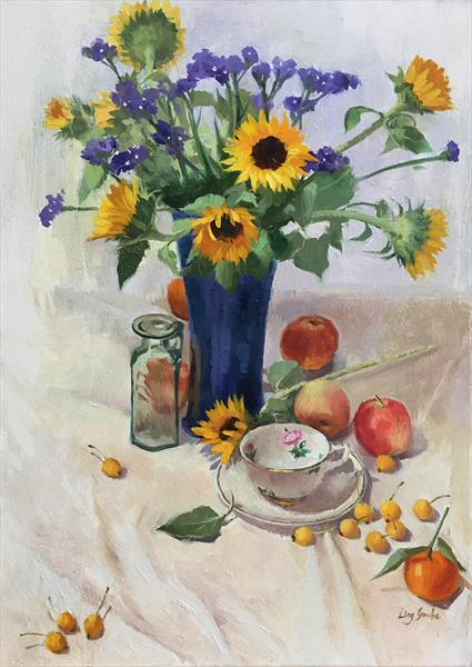 Still Life with Sunflower and Apples by Ling Strube