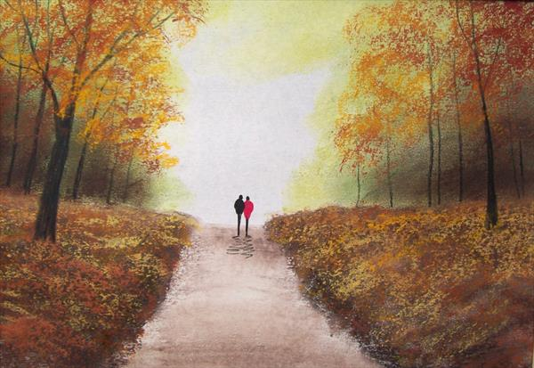 Autumn Woodland Road by Patricia Richards