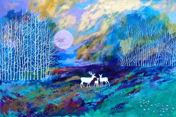 RESERVED FOR LH Deer Song of the Lilac Moon (large canvas) by David King