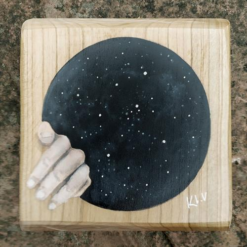Small Wood Painting - Embrace Cosmos by Karl Vang