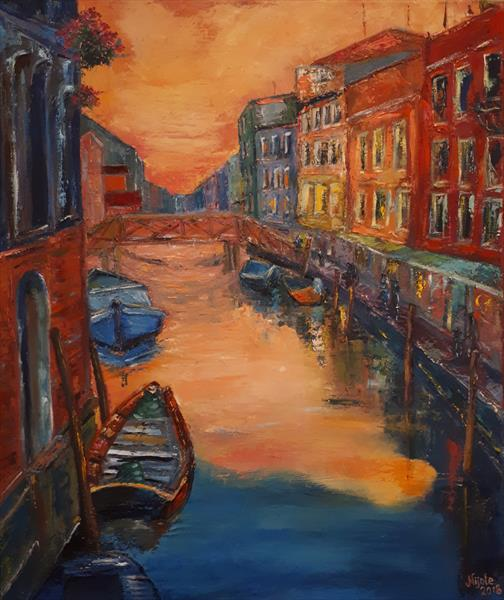Coral Sunset in Venice by Nijole Adomaitiene