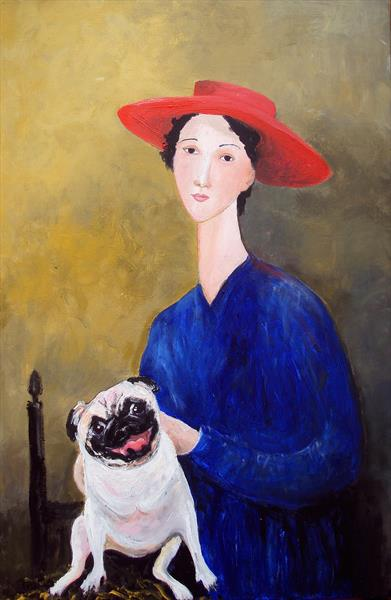 Woman Red Hat Pug Dog