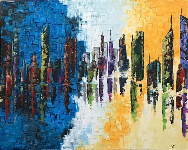 Busy city Abstract Paintings(Large) by  Rizna  Munsif