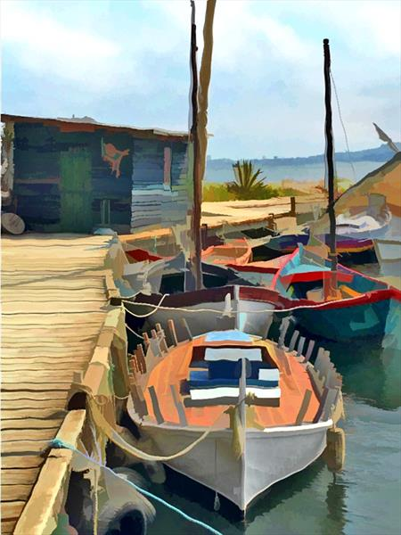 The Harbour, Bouzigues, Herault, France by Memories A' broad
