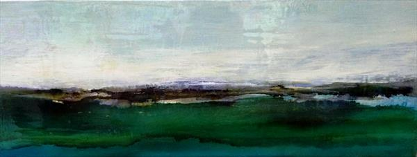 Abstract Landscape  in emerald green with Glass like finish by Maxine Martin