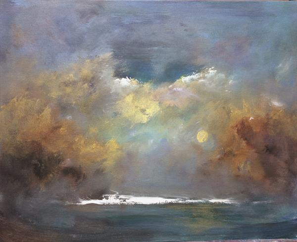 Going To The River To Pray III On Canvas Board Impressionist Seascape  by Maxine Martin