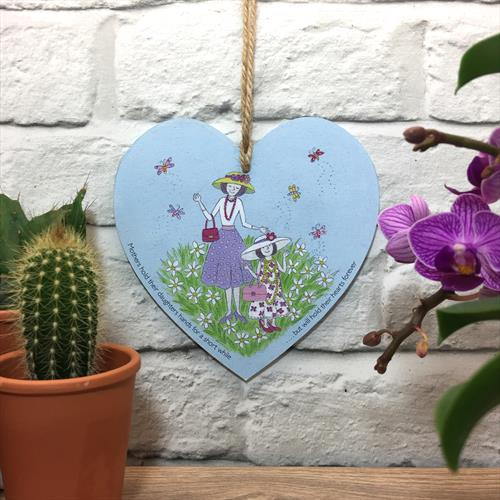 Mothers and daughter glossy vinyl print heart shaped plaque with quote by Lisa-Marie Davies