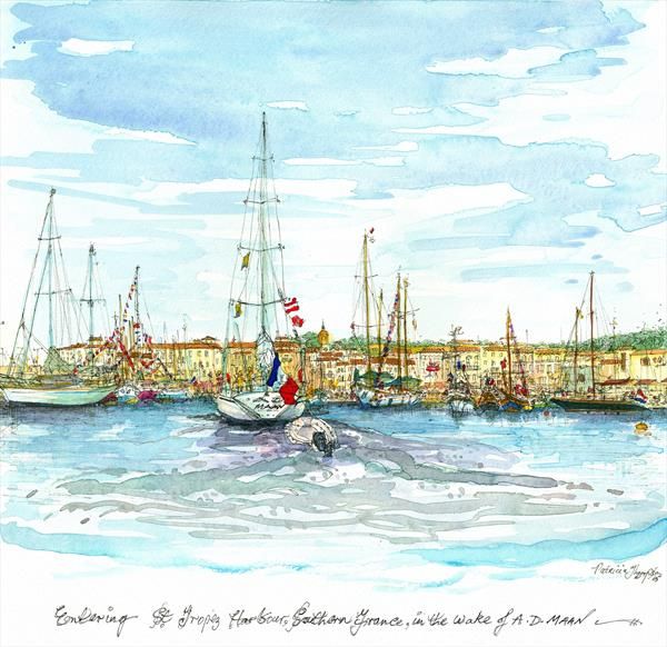 SAILING INTO ST. TROPEZ HARBOUR, SOUTHERN FRANCE by Patricia Edith Mary Thompson