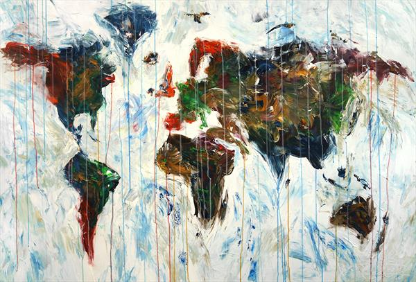Abstract World Map XL 2 by Peter Nottrott