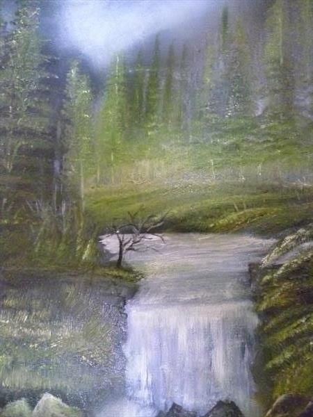 Evening in Pine forest with stream and waterfall by James Ritchie