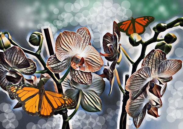Orchids and Butterflies by Michael Aaron