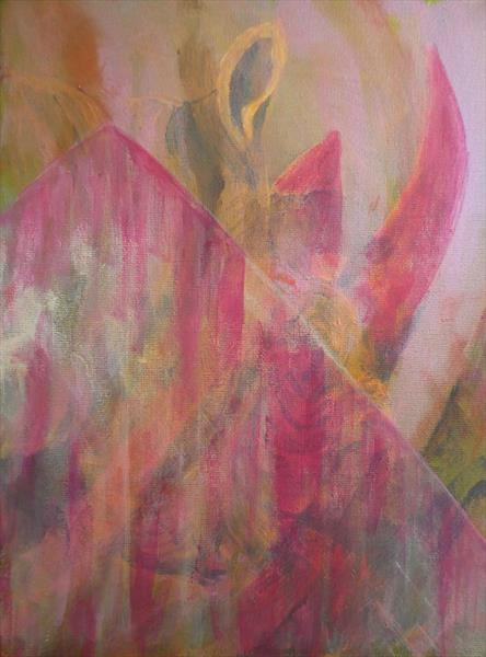 Under a Pink Veil - Rhino Painting by Caroline Skinner