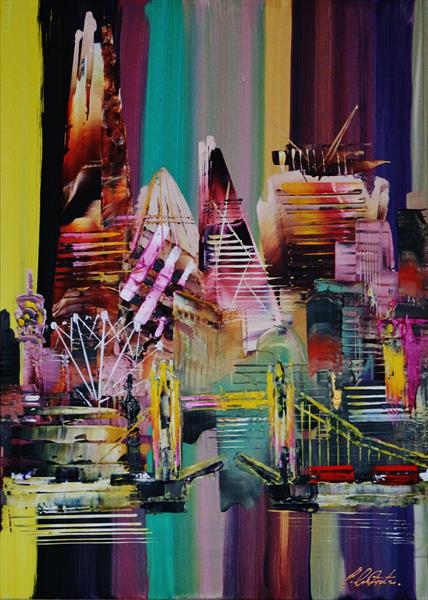 London City Skyline Abstract Painting 0711 by Eraclis Aristidou
