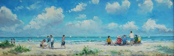 Family on the Beach, West Wittering, West Sussex by Terence Eldridge