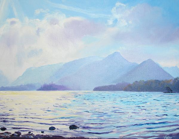 Derwentwater 21/10/07, oil sketch by Peter Brook
