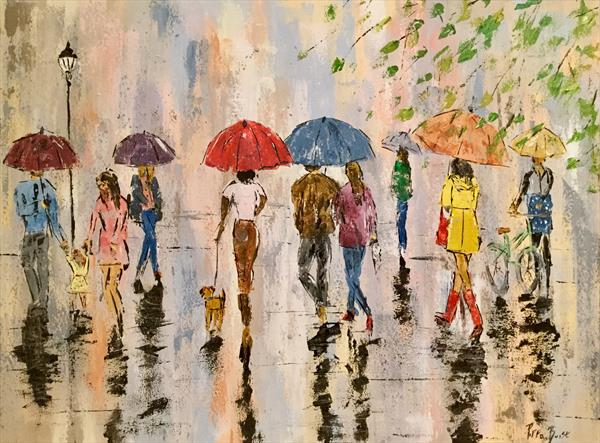 People in the spring rain by Pippa Buist