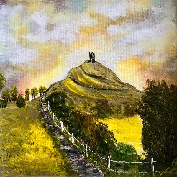 Glastonbury Tor in a white frame by Marja Brown