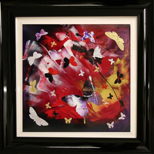 Butterfly swirl ( framed, collage) on display at the Art Gallery, Tetbury