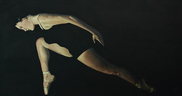 Dancer in the Dark Vol 3 , Contemporary Ballerina Painting by Alex Jabore