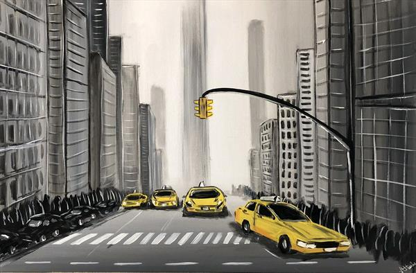 Yellow New York Cabs by Aisha Haider