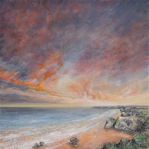 Bedruthan Steps Sunset Sky by Diane Griffiths