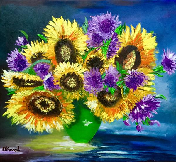 Sunflowers in a vase.  by Olga  Koval