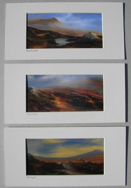 Set of Three Moorland Prints by Alan Kingwell