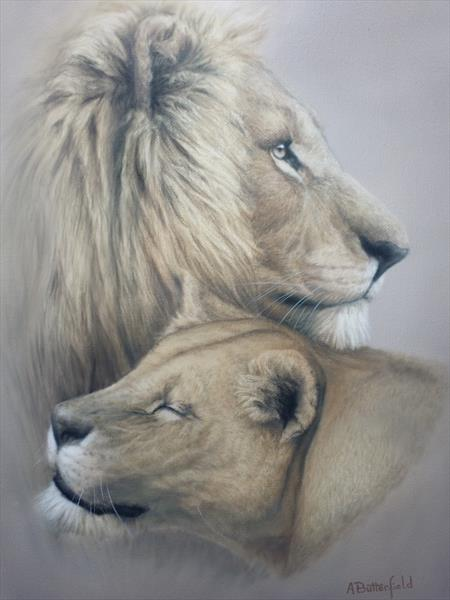 Two Lions by Adrian Butterfield