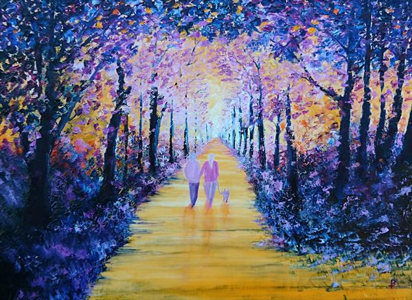 Dog walk in the magenta woods by Paul Smith