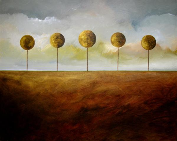 The Five Round Trees Golden Brown Earth by Dan Bateman