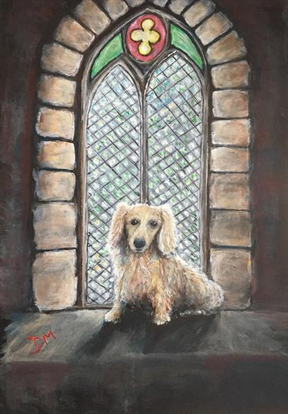 Dachshund in gothic window  by Damion  Maxwell