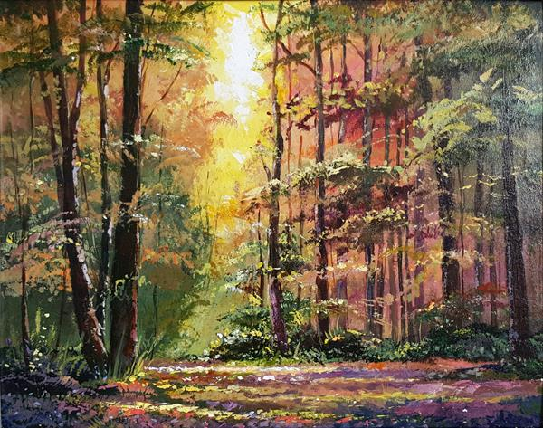 Golden forest, Acrylic painting by Inna Stone