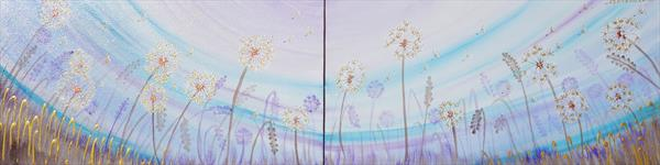 DANDELIONS Blue sky landscape 40x160x4 cm meadow decor by Ksavera Art