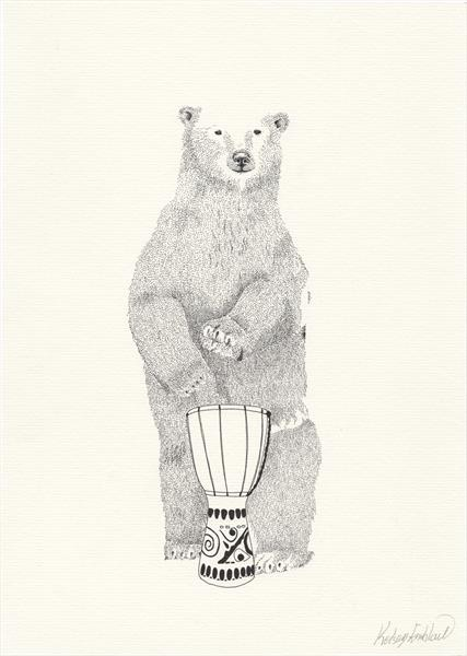 Bongo Drumming Bear by Kelsey Emblow