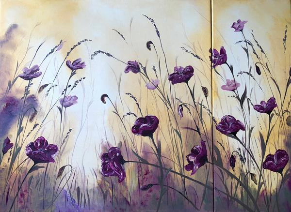 Poppies on a dual panel by Marja Brown