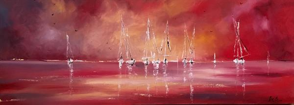 Sails against a red sky  by Pippa Buist
