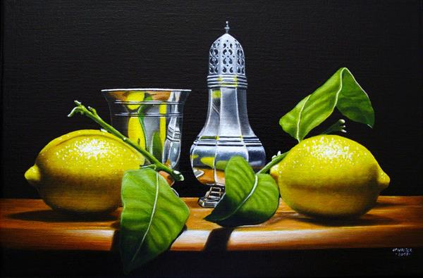 Lemons with silverware by Jean-pierre Walter