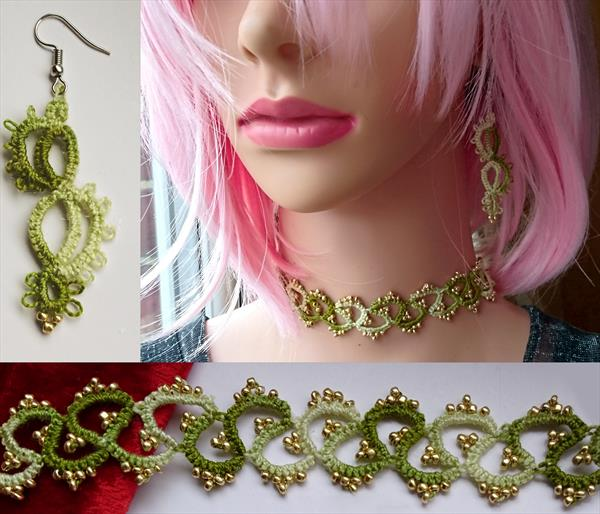 Frivolite Set Earrings Necklace, handmade FSGn1 by Susana Zarate