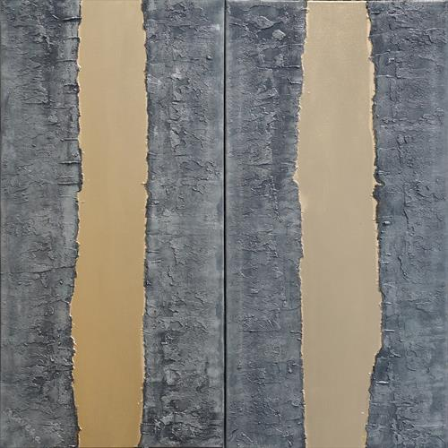 steel long textured painting abstract gold stripe A244 by Ksavera Art
