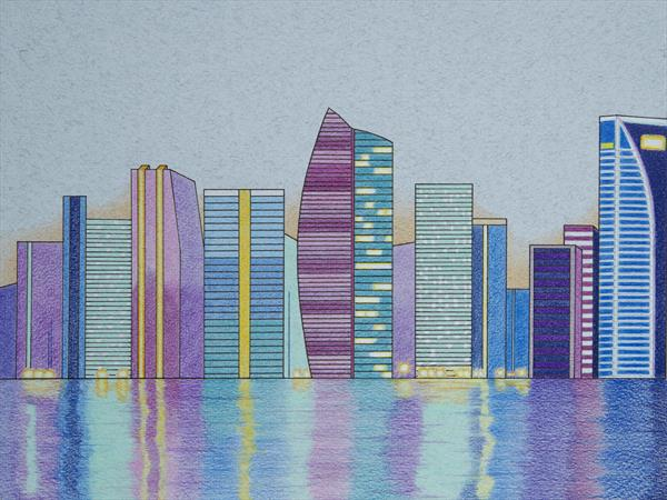 Cityscape Drawing by Nick Wainman