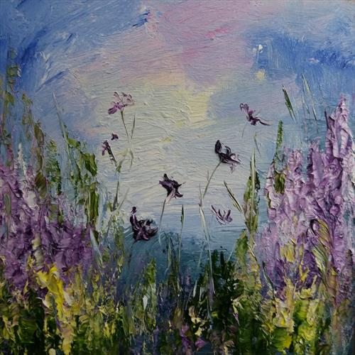 Essence of Summer - A Textured Abstract Landscape by Marjory Sime by Marjory Sime