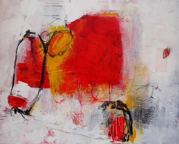 Red Cow | large abstract | red white orange | Acrylic & Collage on Canvas by Daniela Schweinsberg
