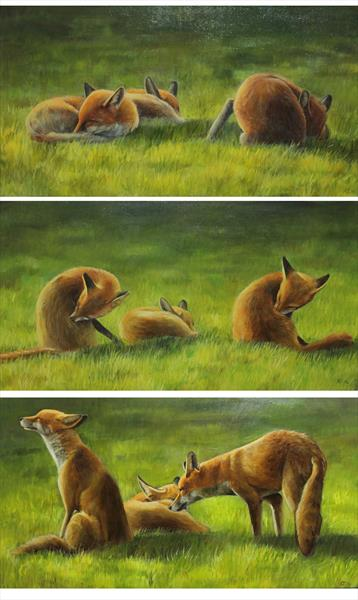 Foxes in the Sun Triptych by Alex Jabore