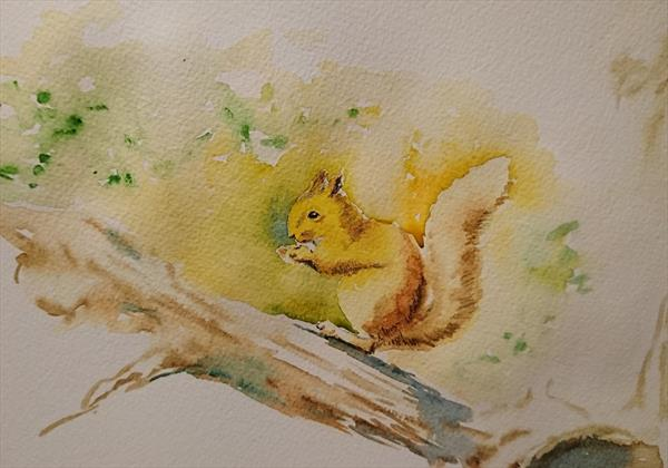 Sunlight squirrel on the tree branch Artist watercolour paper A3 by Elena Haines