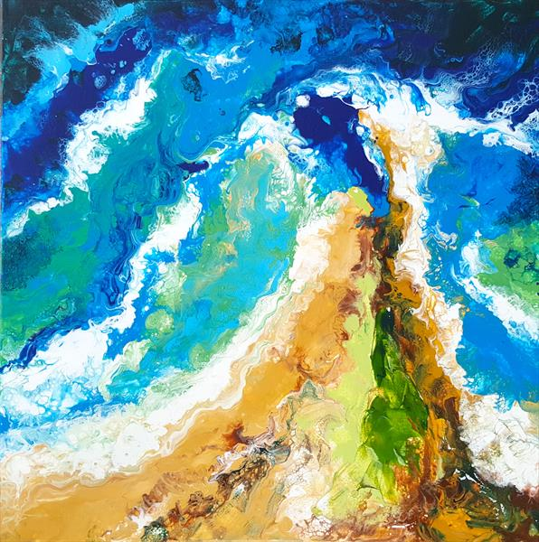 Where Ocean meets the land. Acrylic pouring by Inna Stone