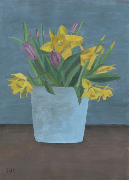 Daffodils and tulips by John Van Der Kiste