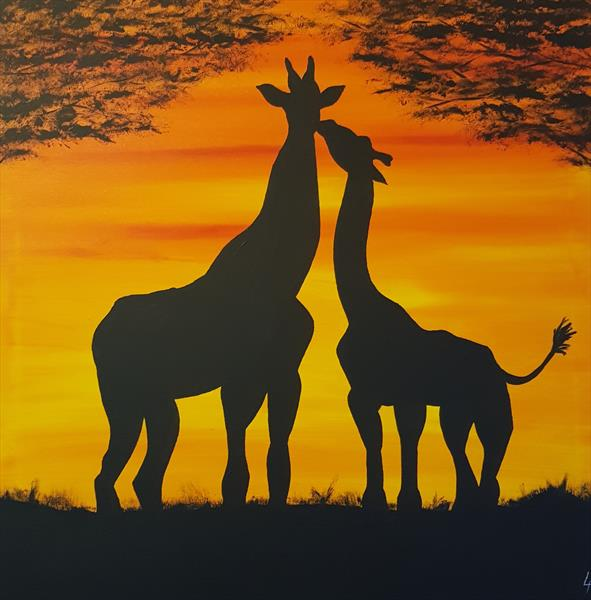 Giraffe and young by Lee Proctor