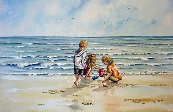 Playing on the Sand by vicki Griggs
