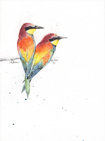 2 Bee-Eaters on a Branch by Kelsey Emblow